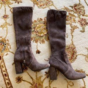 Brown suede Prada boots